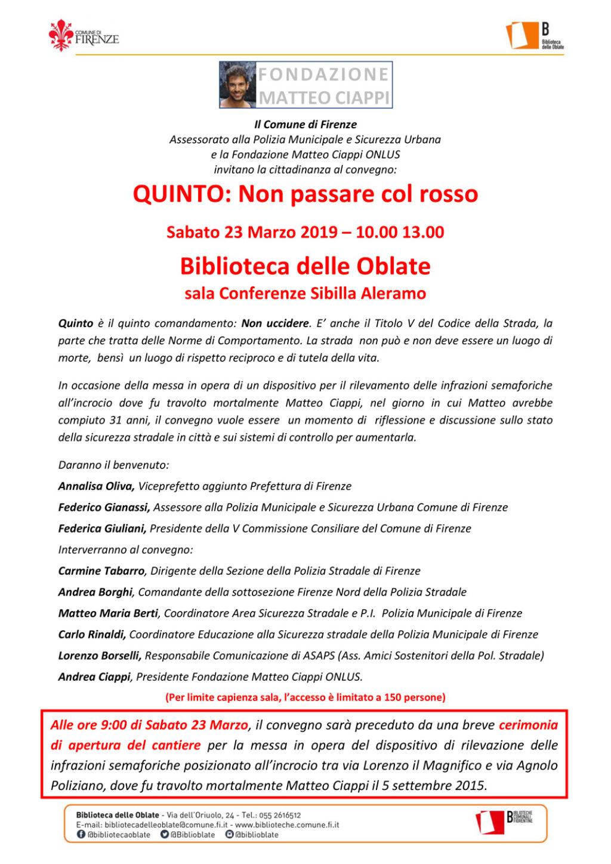 QUINTO: Non passare col rosso Convegno a Firenze in memoria di Matteo Ciappi