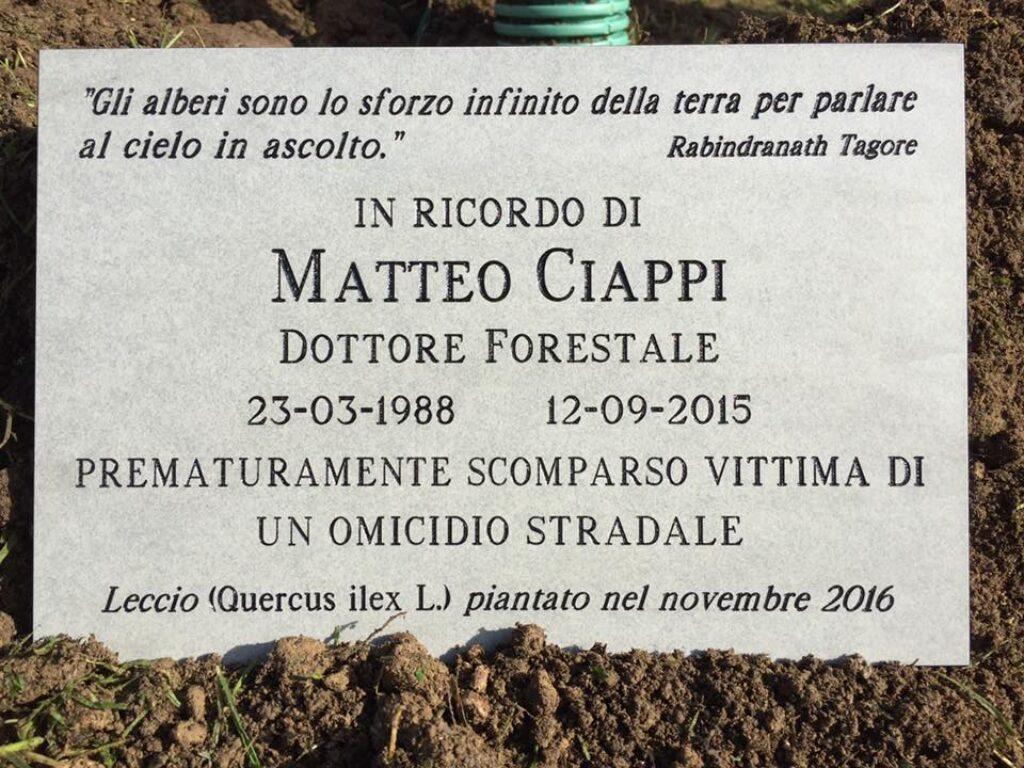 Una targa per Matteo Ciappi, in via Reginaldo Giuliani - Fondazione Matteo Ciappi